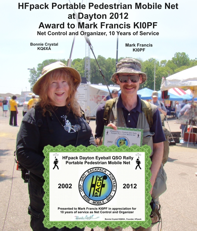 Mark KI0PF Award for 10 Years of Service Net Control and Organizer, HFpack Pedestrian Mobile Net