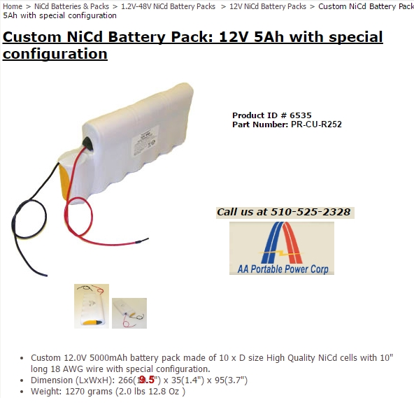 BatterySpace Battery for Kachina MP-25 Manpack 12V 5Ah NiCd Product ID 6535 ProductNumber PR-CU-R252