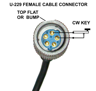 CW KEY WIRED TO U-229 FEMALE CABLE CONNECTOR PINOUT