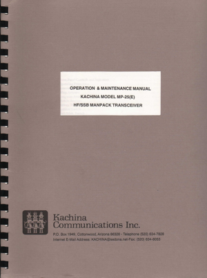 DOWNLOAD: MANUAL KACHINA MP-25 SCIENTIFIC RADIO SYSTEMS SR-MP-25 HF MANPACK