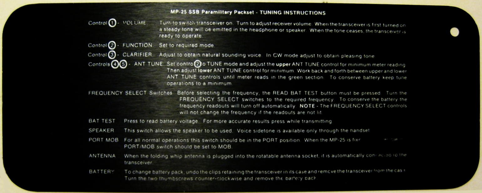 KACHINA_MP_25_HF_SSB_MANPACK Tuning Instructions Card